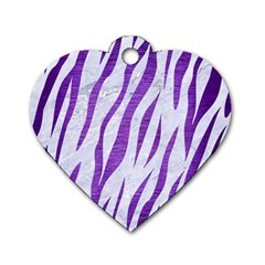 Skin3 White Marble & Purple Brushed Metal (r) Dog Tag Heart (two Sides)