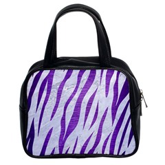 Skin3 White Marble & Purple Brushed Metal (r) Classic Handbags (2 Sides)
