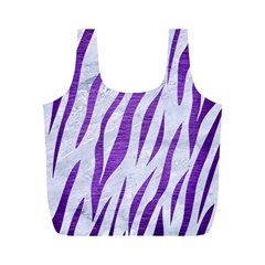 Skin3 White Marble & Purple Brushed Metal (r) Full Print Recycle Bags (m)