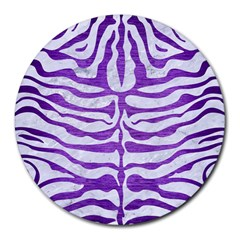 Skin2 White Marble & Purple Brushed Metal (r) Round Mousepads