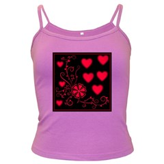 Background Hearts Ornament Romantic Dark Spaghetti Tank by Sapixe