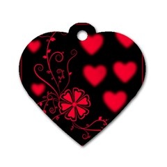 Background Hearts Ornament Romantic Dog Tag Heart (one Side)