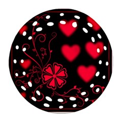 Background Hearts Ornament Romantic Round Filigree Ornament (two Sides)