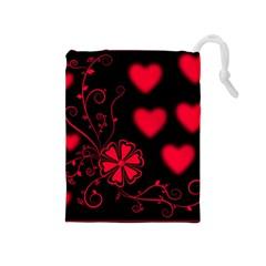Background Hearts Ornament Romantic Drawstring Pouches (medium)
