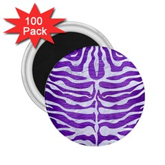 Skin2 White Marble & Purple Brushed Metal 2 25  Magnets (100 Pack)  by trendistuff