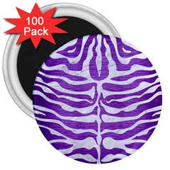Skin2 White Marble & Purple Brushed Metal 3  Magnets (100 Pack)