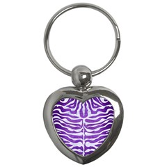 Skin2 White Marble & Purple Brushed Metal Key Chains (heart)  by trendistuff