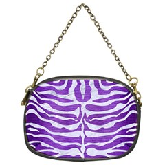Skin2 White Marble & Purple Brushed Metal Chain Purses (two Sides)