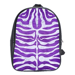 Skin2 White Marble & Purple Brushed Metal School Bag (xl) by trendistuff