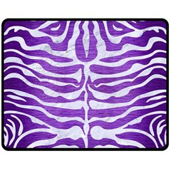 Skin2 White Marble & Purple Brushed Metal Double Sided Fleece Blanket (medium)  by trendistuff