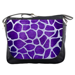 Skin1 White Marble & Purple Brushed Metal (r) Messenger Bags