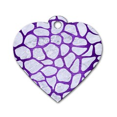 Skin1 White Marble & Purple Brushed Metal Dog Tag Heart (two Sides)