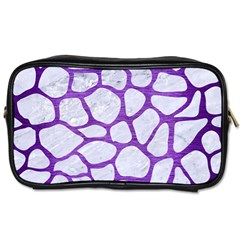 Skin1 White Marble & Purple Brushed Metal Toiletries Bags