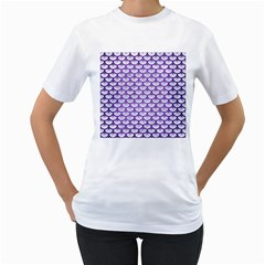 Scales3 White Marble & Purple Brushed Metal (r) Women s T Shirt (white) (two Sided)