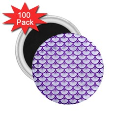 Scales3 White Marble & Purple Brushed Metal (r) 2 25  Magnets (100 Pack)