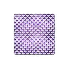 Scales3 White Marble & Purple Brushed Metal (r) Square Magnet