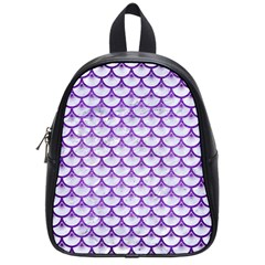 Scales3 White Marble & Purple Brushed Metal (r) School Bag (small)