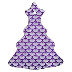 Scales3 White Marble & Purple Brushed Metal (r) Ornament (christmas Tree)