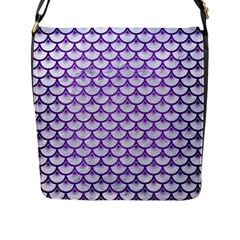 Scales3 White Marble & Purple Brushed Metal (r) Flap Messenger Bag (l)
