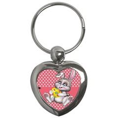 Illustration Rabbit Easter Key Chains (heart)