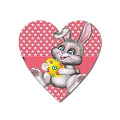 Illustration Rabbit Easter Heart Magnet