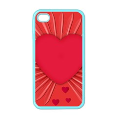 Background Texture Heart Love Apple Iphone 4 Case (color)