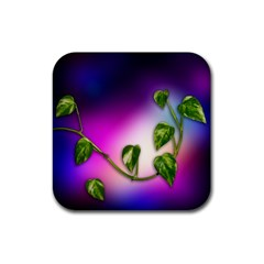 Leaves Green Leaves Background Rubber Square Coaster (4 Pack)