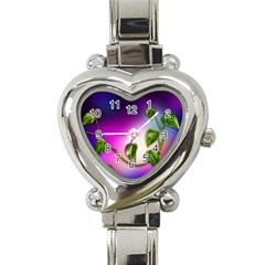 Leaves Green Leaves Background Heart Italian Charm Watch