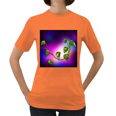 Leaves Green Leaves Background Women s Dark T Shirt