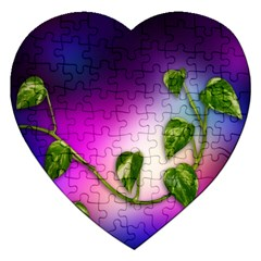 Leaves Green Leaves Background Jigsaw Puzzle (heart)