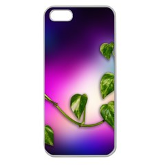 Leaves Green Leaves Background Apple Seamless Iphone 5 Case (clear)