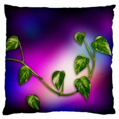 Leaves Green Leaves Background Large Flano Cushion Case (one Side) by Sapixe