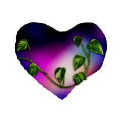 Leaves Green Leaves Background Standard 16  Premium Flano Heart Shape Cushions