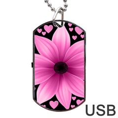 Flower Plant Floral Petal Nature Dog Tag Usb Flash (one Side) by Sapixe