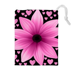 Flower Plant Floral Petal Nature Drawstring Pouches (extra Large)