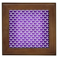 Scales3 White Marble & Purple Brushed Metal Framed Tiles