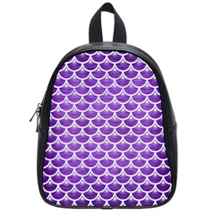 Scales3 White Marble & Purple Brushed Metal School Bag (small)