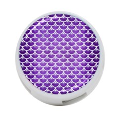 Scales3 White Marble & Purple Brushed Metal 4 Port Usb Hub (two Sides)