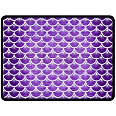 Scales3 White Marble & Purple Brushed Metal Fleece Blanket (large)