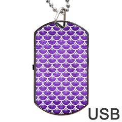 Scales3 White Marble & Purple Brushed Metal Dog Tag Usb Flash (two Sides)