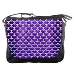Scales3 White Marble & Purple Brushed Metal Messenger Bags
