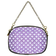 Scales2 White Marble & Purple Brushed Metal (r) Chain Purses (two Sides)