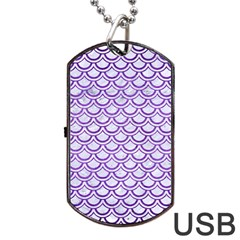 Scales2 White Marble & Purple Brushed Metal (r) Dog Tag Usb Flash (two Sides)