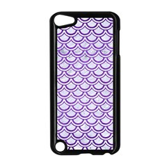 Scales2 White Marble & Purple Brushed Metal (r) Apple Ipod Touch 5 Case (black) by trendistuff