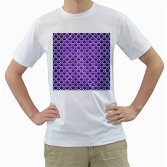 Scales2 White Marble & Purple Brushed Metal Men s T Shirt (white) (two Sided)