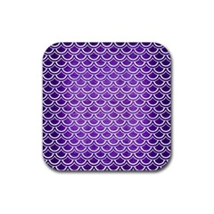 Scales2 White Marble & Purple Brushed Metal Rubber Square Coaster (4 Pack)