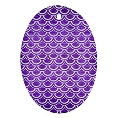Scales2 White Marble & Purple Brushed Metal Oval Ornament (two Sides)