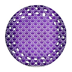 Scales2 White Marble & Purple Brushed Metal Round Filigree Ornament (two Sides)