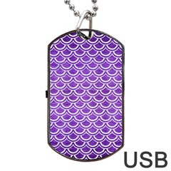 Scales2 White Marble & Purple Brushed Metal Dog Tag Usb Flash (one Side)