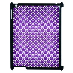 Scales2 White Marble & Purple Brushed Metal Apple Ipad 2 Case (black) by trendistuff